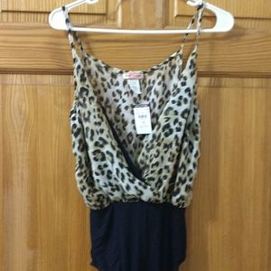 NWT Body Central leopard print body suit. Size S